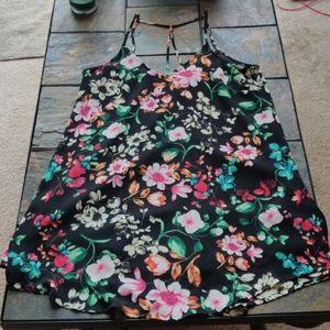 Lush Brand Floral Print Little Black Dress Size M